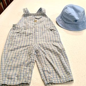 GYMBOREE overalls and matching reversible hat